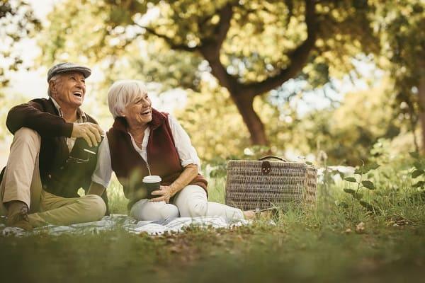 Ein älters Paar bei einem fröhlichen Picknick im Park